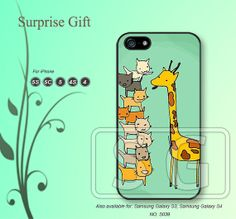 iPhone 5 case iPhone 5c case iPhone 5s case iPhone 4 case iPhone 4s case, iPhone case, Phone case giraffe and cat --S039