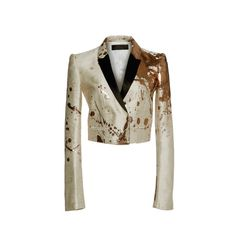 Haider Ackermann     Splatter Paint Cropped Jacket (102 060 UAH) ❤ liked on Polyvore featuring outerwear, jackets, cropped jacket, tailored jacket, metallic jacket, haider ackermann and white jacket