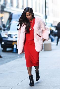 Vashtie Kola on the street at New York Fashion Week. Photo: Daniel Zuchnik/Getty Images.