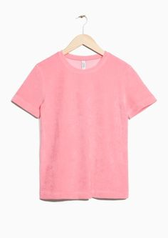 & Other Stories image 1 of Velour T-Shirt in Pink