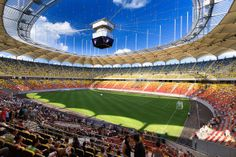 To all the football fans, check out one of the best stadiums in Europe: The National Arena Bucharest / Romania Glasgow, Athletic Bilbao, Top 15, National Stadium, Football Stadiums, Football Art, Different Sports, Wembley Stadium, Tourist Information