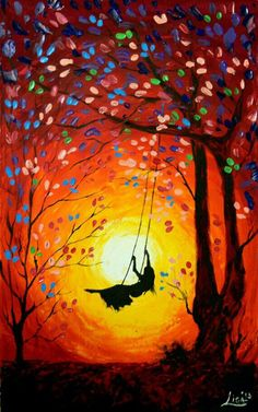 Girl on a tree swing swinging into the golden swirled sunset. Pretty painting idea with cool tree leaves.