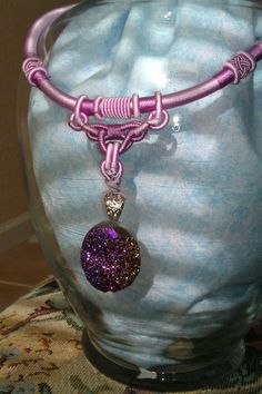 Druzy Quartz Necklace on Purple Chinese Knot by DBBaublesandBling, $16.00