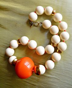 Orange Ivory Necklace DONALD STANNARD Beaded by RenaissanceFair