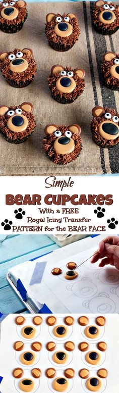 Bear Cupcakes - with Royal Icing Transfers - Kuchen 2019 Kid Cupcakes, Animal Cupcakes, Cupcake Cookies, Sugar Cookies, Teddy Bear Cupcakes, Owl Cookies, Royal Icing Transfers, Decoration Patisserie, Cute Cakes