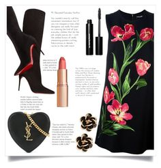 """Black & Floral!"" by ashaleethornt ❤ liked on Polyvore featuring Dolce&Gabbana, Christian Louboutin, Yves Saint Laurent, Charlotte Tilbury, Bobbi Brown Cosmetics and Chantecler"
