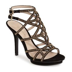 """Pella Moda 'Reese' Caged Sandal, 4"""" heel (13,585 INR) ❤ liked on Polyvore featuring shoes, sandals, black suede, black suede sandals, caged sandals, ankle strap sandals, black shoes and black platform shoes"""