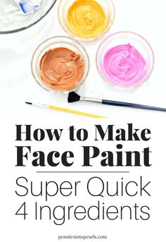 I cant believe how easy it is to figure out how to make face paint! All it takes is four ingredients that you already have at home mixed together in a bowl and done! If you want to know how to make face paint this is the easiest way possible! Homemade Face Paints, Homemade Paint, Homemade Face Masks, Diy Face Paint, White Face Paint, Body Paint, Mouse Face Paint, Face Painting Designs, Painting Patterns