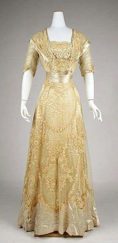1908 American designed cotton,linen and silk dress.