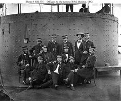 civil war shipwrecks north carolina | USS Monitor (1862) Officers on deck by her gun turret, while the ship ...