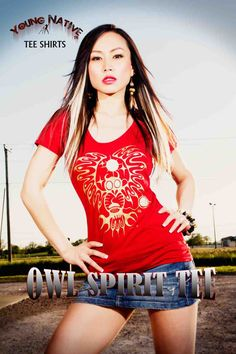 Owl Spirit Tee....representing WISDOM. Beautifully cut, bamboo tees, MADE IN CANADA for Young Native Fashion by Angela DeMontigny. ORDER yours at www.youngnativefashion.com Native Fashion, Native Style, Love Is Free, Old Women, Free Spirit, Branding Design, Bamboo, Owl, Canada