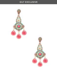Pink Jade & Raspberry Chandelier Earrings by Miguel Ases at Gilt