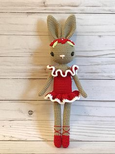 Christmas/ New Year/ Valentine's Day Ballerina Bunny Crochet Bear Patterns, Crochet Animals, Crochet Ideas, Easter Crochet, Cute Crochet, Crochet Gifts, Crochet Toys, Knitted Bunnies, Mercerized Cotton Yarn