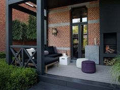Brick detail paired with black fencing!