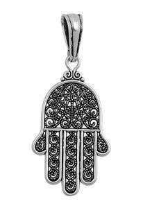18-Inch Rhodium Plated Necklace with 6mm Jet Birthstone Beads and Sterling Silver Saint Mark the Evangelist Charm.