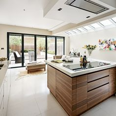 Walnut veneer kitchen extension | Kitchen extension | PHOTO GALLERY | Beautiful Kitchens | Housetohome.co.uk