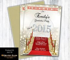 Graduation Invitation Red Carpet with Diamond Numbers - Any School And Colors -  Digital File OR Printed Invitations - Product ID AA118