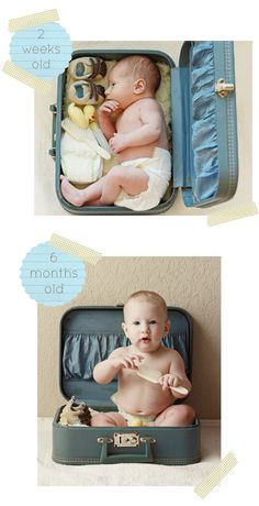 baby picture- Why do we never have any good ideas until it is too late? It would be funny to see him at age 5 trying to sit in the suitcase and at like 9, on his knees in it and like at 13, standing in it, and then by 17 carrying it.
