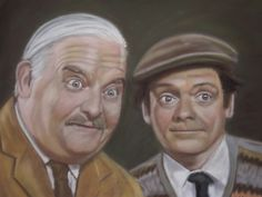 """pastel painting of Ronnie Barker & David Jason in the classic sitcom """"OPEN ALL HOURS"""" Ronnie Barker, Open All Hours, David Jason, Pastel, Classic, Artist, Painting, Men, Color"""