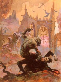 Dracula meets the Wolfman - art by Frank Frazetta