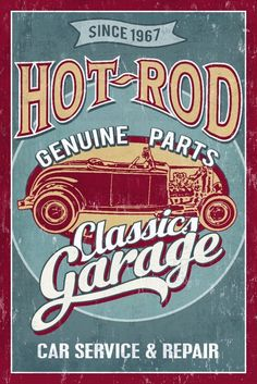 Hot Rod Garage - Classic Cars - Vintage Sign (36x54 Giclee Gallery Print, Wall Decor Travel Poster) ** Awesome product. Click the image : Kitchen Utensils and Gadgets