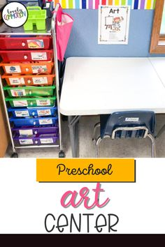 The Art Center in a preschool classroom is a place for children to explore different art materials, express themselves through creativity and use fine motor skills. See what is inside my Art Center. Art Center Preschool, Preschool Classroom, Preschool Art, Play Based Learning, Learning Centers, Classroom Organization, Organization Ideas, Center Labels, Liquid Watercolor