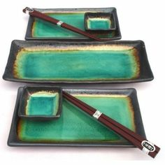 Amazon.com: Japanese Turquoise Green Kosui Seven Piece Sushi Plate Set for Two with Serving Plate: Kitchen & Dining