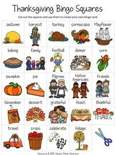 "Thanksgiving Activities Free Create Your Own Luck Bingo - This resource includes 24 Thanksgiving related images and vocabulary words and a blank ""MY BINGO CARD"" template that students can use to create their own unique Thanksgiving themed bingo cards.DOWNLOAD."