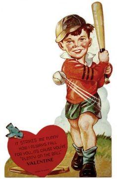 Vintage 1940's Baseball Valentine for Boys....free printable....LOVE these ole Valentines!