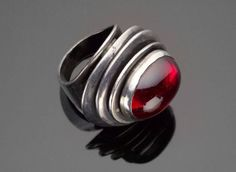 Ring | Art Smith.  Sterling silver with glass.  ca. 1950 - 1960.