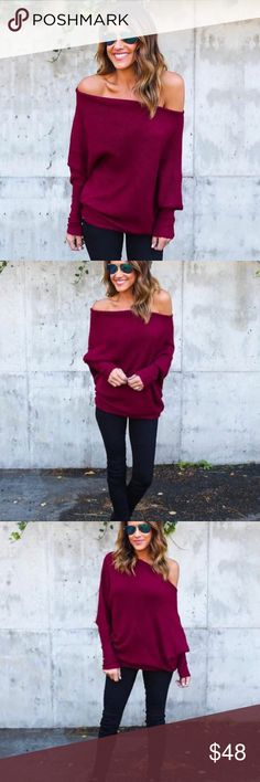 "Cozy Off The Shoulder Sweater This Cozy Sweater is to die for, so soft to the touch! The ribbed body and cowl neck can be worn on or off the shoulder! We're dreaming of a cozy fall in this gem. The long sleeves are easy to pull up or down and the asymmetrical hem is on trend. Off One Shoulder  Dolman Fit Size Small: 24"" from shoulder to hem  Cotton Model is 5'4"" and wears a small sizing chart above for reference.  Also available in black and gray. 🙂REASONABLE offers welcome. Bundles of 1…"