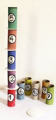 tower of numbers game from toilet paper tubes.