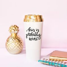 Coffee Mug This Is Probably Wine Travel Tumbler Gift for Boss Her Best Friend Plastic Mugs Chic Fun Wholesale Mugs Gold Lid Boss Lady Funny Gift For Bestie Mom