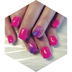 Hot Pink with Feature Nail Acrylics