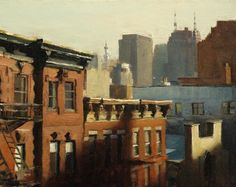 David Roth - Early Light, oil on canvas, 11 x 14 inches Urban Landscape, Landscape Art, Landscape Paintings, Landscapes, Urban Painting, City Painting, Painting Abstract, Acrylic Paintings, Art And Illustration