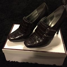 Guess Marciano Booties Dark brown Velcro top strap Guess by Marciano Shoes Heels
