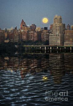 Harvest Moon Over Westside Highway NYC by Lilliana Mendez