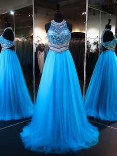 Sparkly Princess Scoop Neck Tulle Sweep Train Crystal Detailing Blue Prom Dresses #Milly020103225