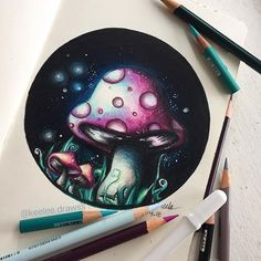•Hello Everyone! • here's this small mushroom drawing! this was super quick but i've been wanting to draw mushrooms for a while so i did lol. hope you like this drawinggg! • made with prismacolor pencils in a moleskine sketchbook:) •