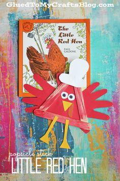 Popsicle Stick Little Red Hen - Kid Craft - Glued To My Crafts Red Crafts, Glue Crafts, Craft Stick Crafts, Book Crafts, Craft Sticks, Yarn Crafts, Preschool Themes, Preschool Crafts, Preschool Activities