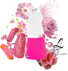 Pink & White, such a girly golf look! Like it? Check out more of this at lorisgolfshoppe.polyvore.com #golf #polyvore #lorisgolfshoppe