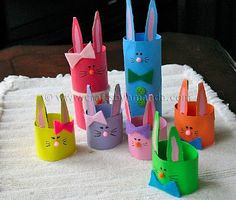 Cardboard Tube Crafts for Kids - Crafts by Amanda Kids Crafts, Easter Crafts To Make, Spring Crafts For Kids, Bunny Crafts, Family Crafts, Holiday Crafts, Rabbit Crafts, Creative Crafts, Halloween Crafts
