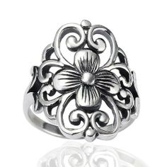 Chuvora 925 Sterling Silver 19 mm Floral Filigree Flower Polished Finish Wide Band Ring - Nickel Free ( Available in Size6,7,8,9 )