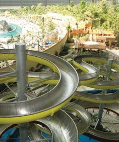 High winding waterslides at Tropical Islands, Germany