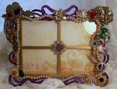 Picture frame embellished with old costume jewelry by Theresa Marie Jewelry via Etsy