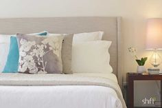 Romantic master bedroom, neutral palette, fabric bed head, pops of colour.  Property Styling #styledbyshift