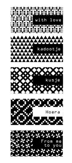 Printable gift tags zwart/wit