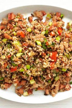 Cajun Rice, Spicy Rice, Sausage Rice, Rice Pilaf Recipe, Potato Rice, Rice Dishes, Main Dishes, Vegetarian Recipes, Healthy Recipes