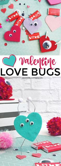 Easy #Valentine Love Bugs perfect for kid's classroom craft activity. #ValentinesDay #KidsCraft via @gknupp