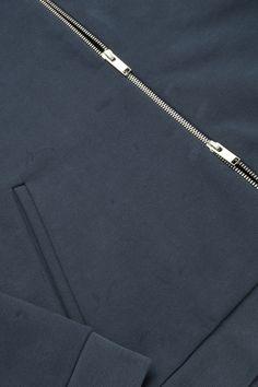 COS image 5 of Zip-up jersey bomber jacket in Navy